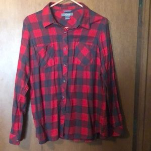 2/$20 Red and Black buffalo plaid flannel size L